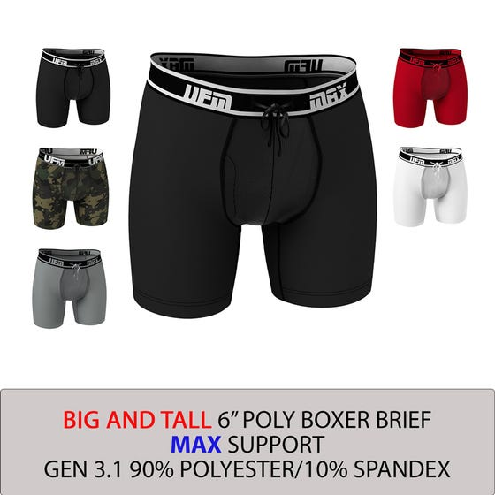 Parent UFM Underwear for Men Big and Tall Polyester 6 inch Max Boxer Brief Multi 800