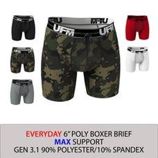 Parent UFM Underwear for Men Everyday Polyester 6 inch Max Boxer Brief Multi 250 Hidden