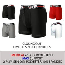 Parent UFM Underwear for Men Medical Polyester 6 inch Original Max Boxer Brief Multi 250 Hidden
