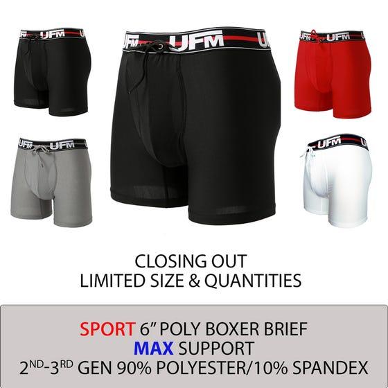 Parent UFM Underwear for Men Sport Polyester 6 inch Original Max Boxer Brief Multi 800