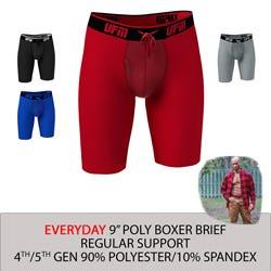 Parent UFM Underwear for Men Everyday Polyester 9 inch Regular Boxer Brief Multi 800