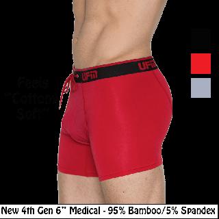 """Bamboo Boxer Briefs 6"""" 4th Gen Medical Underwear for Men"""