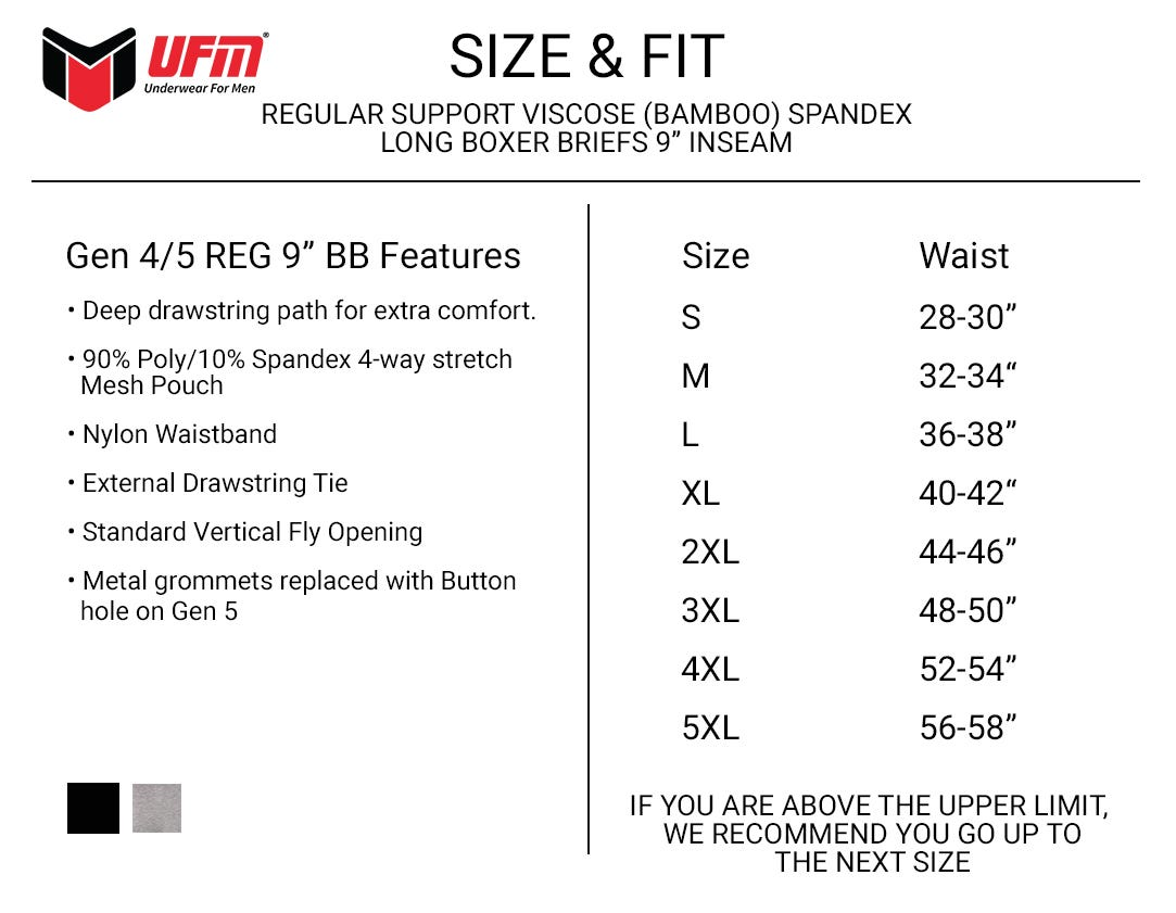 UFM Bamboo Medical 9 inch long boxer brief Size Chart