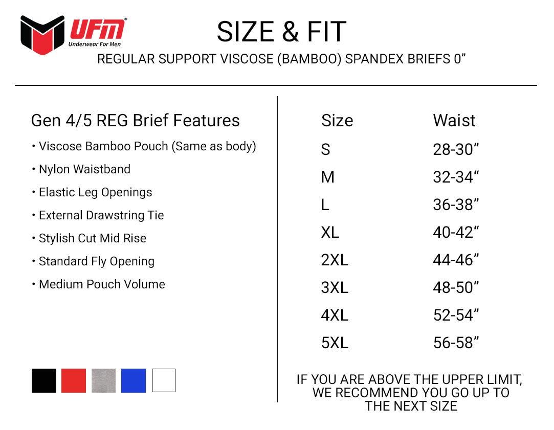 UFM Viscose Brief Size Chart Athletic